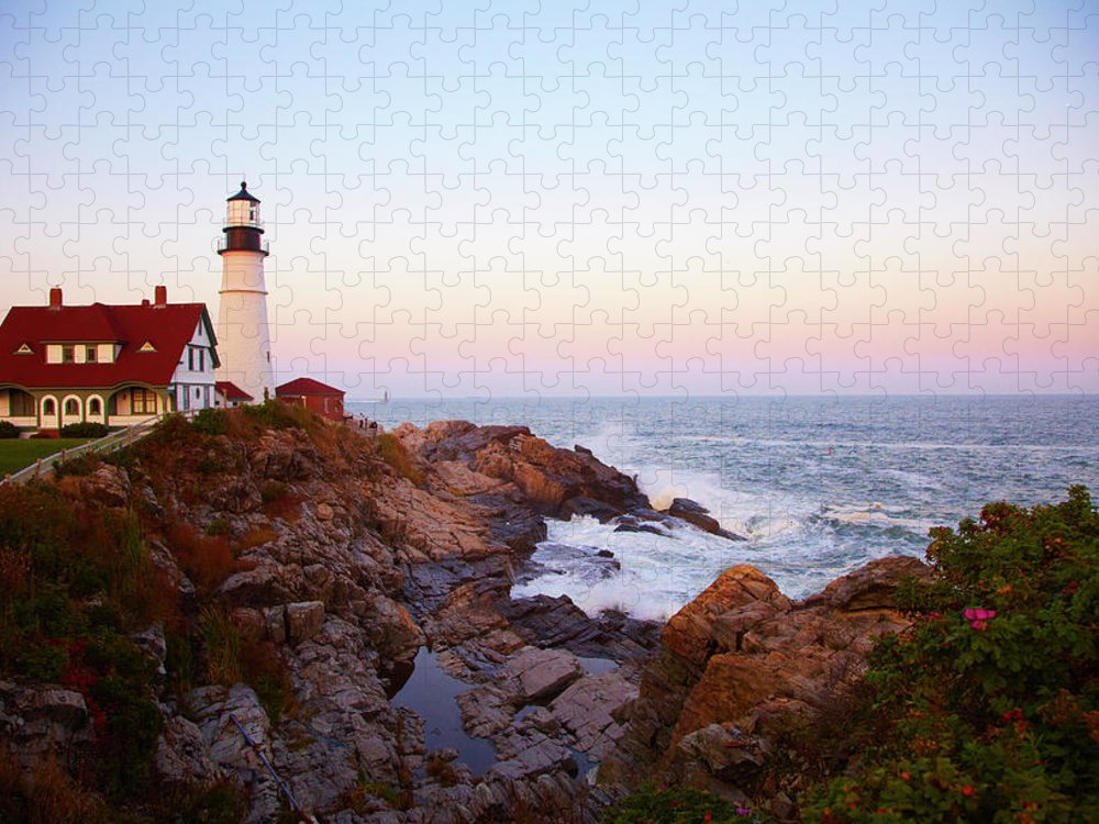 Scenics Puzzle featuring the photograph Portland Head Lighthouse At Sunset by Thomas Northcut