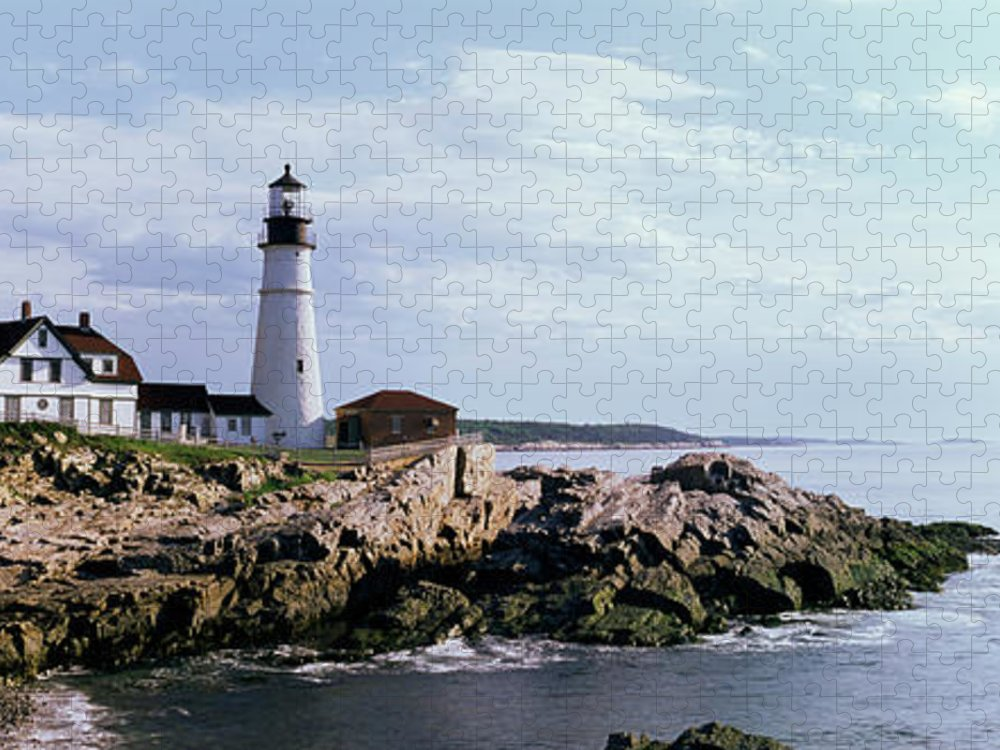 Extreme Terrain Puzzle featuring the photograph Portland Head Lighthouse, Cape by Tony Sweet