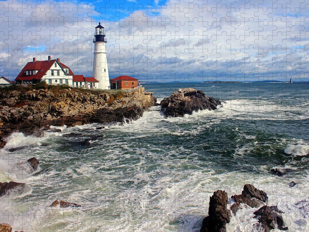 Tranquility Puzzle featuring the photograph Portland Head Lighthouse by Jeremy D'entremont, Www.lighthouse.cc