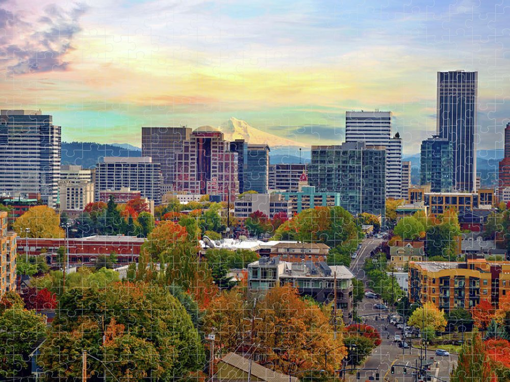 Viewpoint Puzzle featuring the photograph Portland Oregon Downtown Cityscape In by David Gn Photography