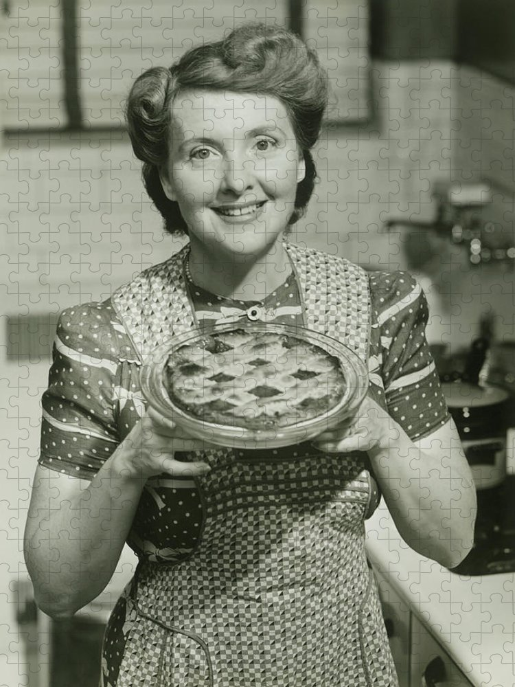 Mature Adult Puzzle featuring the photograph Portrait Of Mature Woman Holding Pie by George Marks