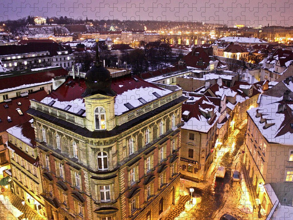 Snow Puzzle featuring the photograph Prague Lights by Usman Baporia