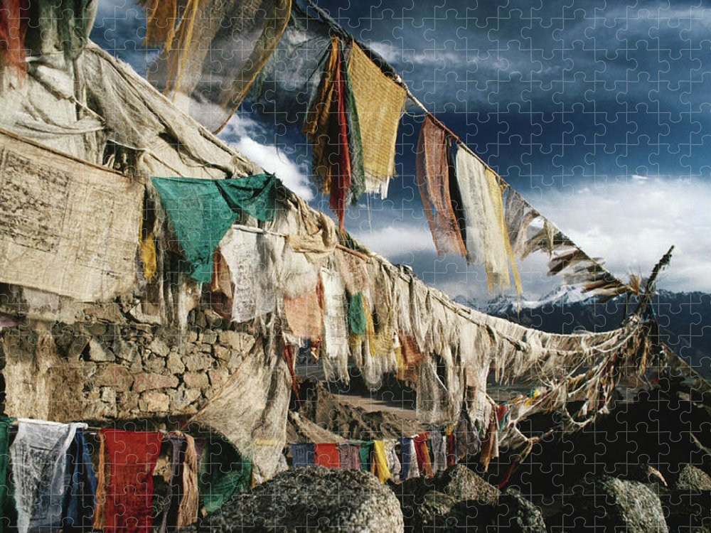 Himalayas Puzzle featuring the photograph Prayer Flags Above Leh, Ladakh, Leh by Richard I'anson