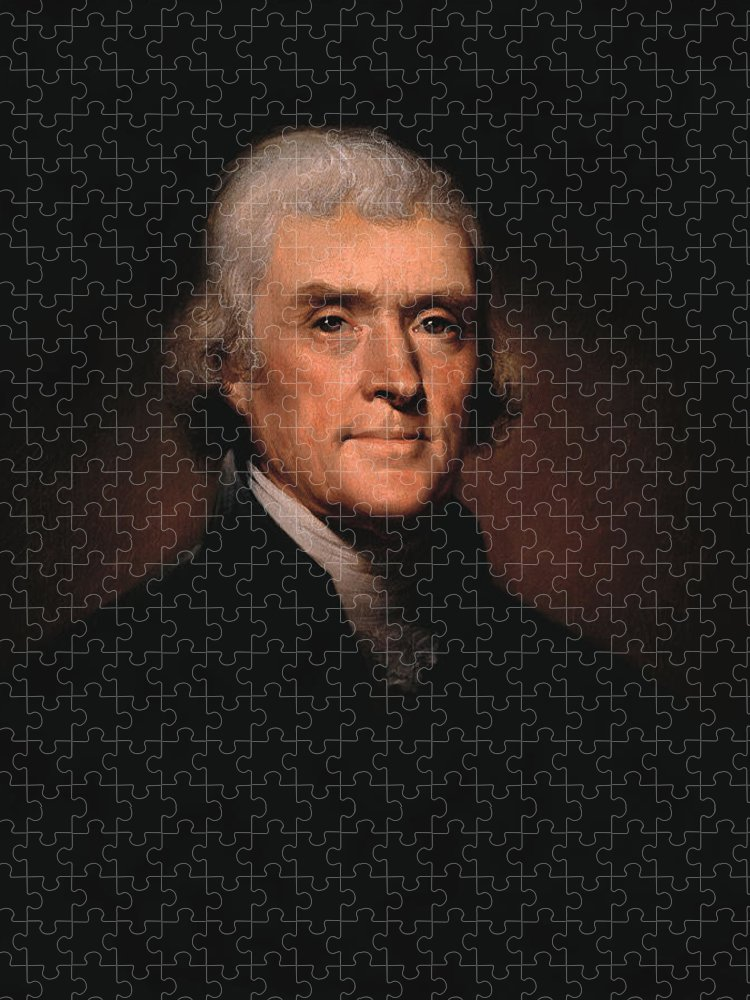Thomas Jefferson Puzzle featuring the painting President Thomas Jefferson by War Is Hell Store