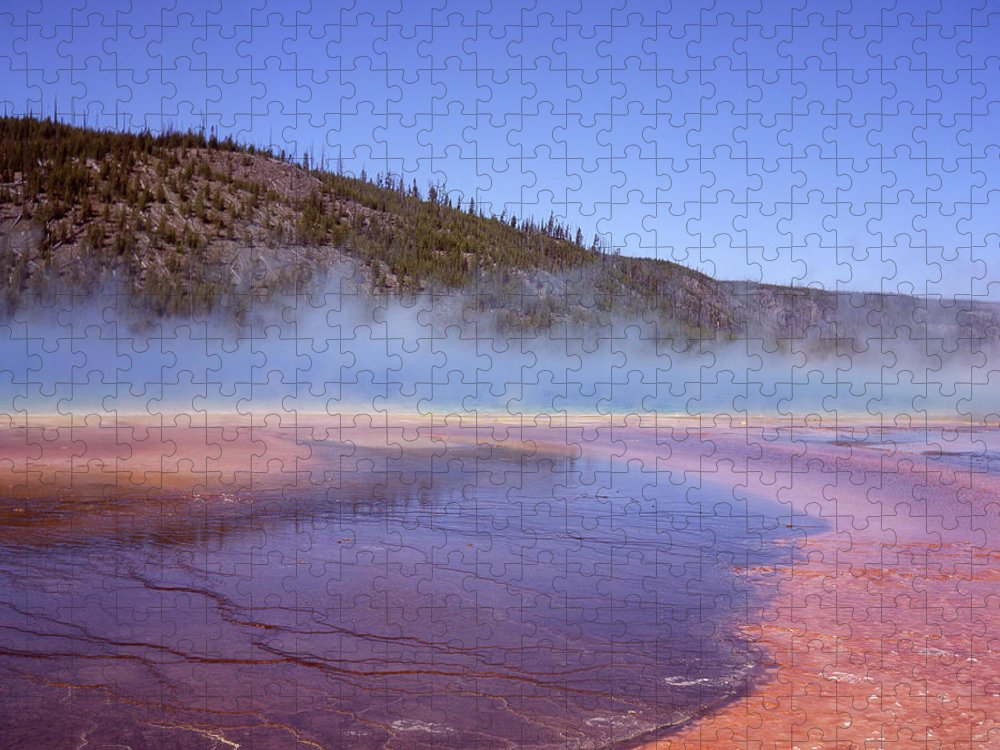 Tranquility Puzzle featuring the photograph Prismatic Spring Algae by L. Maile Smith