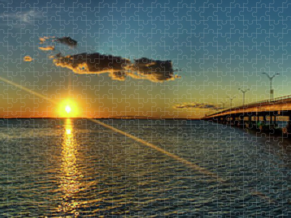 Panoramic Puzzle featuring the photograph Queen Isabella Causeway by Joshua Bozarth