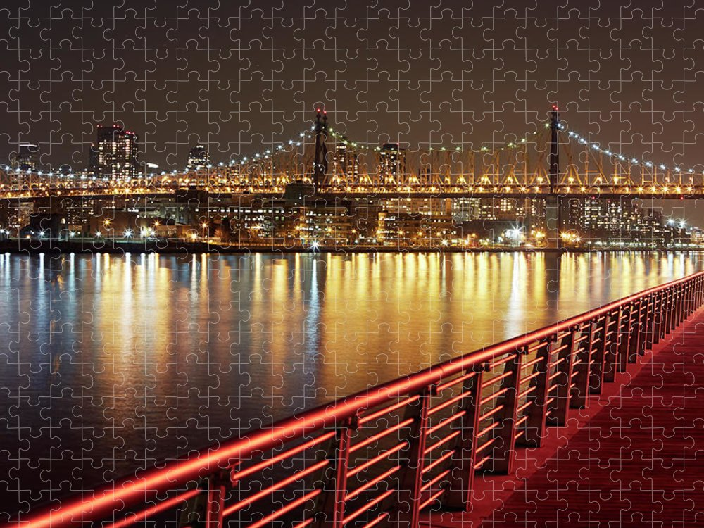 Built Structure Puzzle featuring the photograph Queensboro Bridge At Night by Allan Baxter