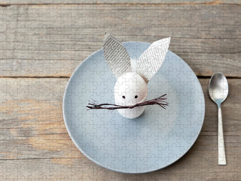 Holiday Puzzle featuring the photograph Rabbit Decoration On Plate by Stefanie Grewel