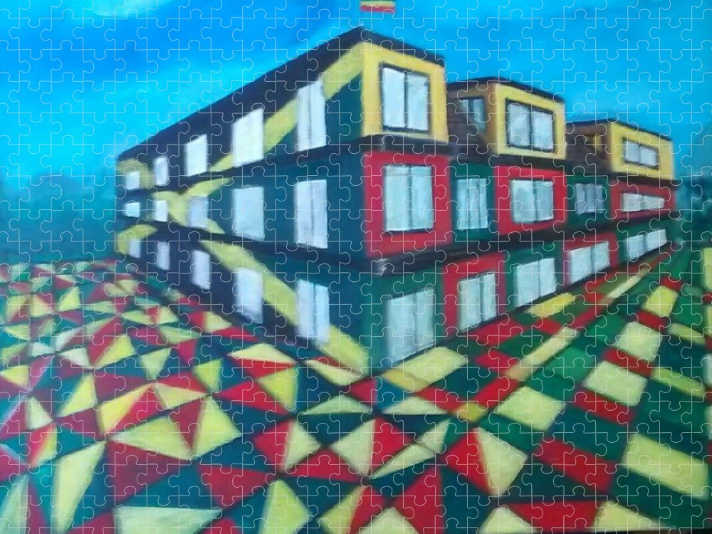 Rasta Art Puzzle featuring the painting Rasta Academy by Andrew Johnson