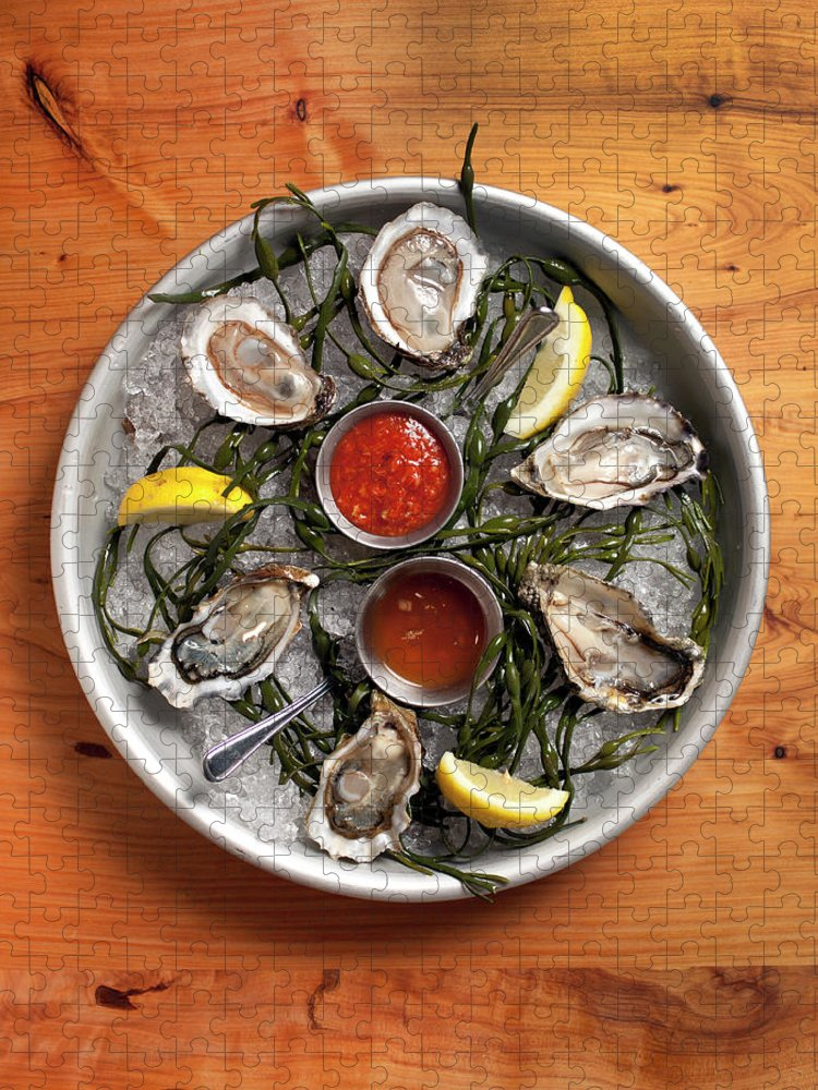 Oyster Puzzle featuring the photograph Raw Oyster Platter by Lara Hata