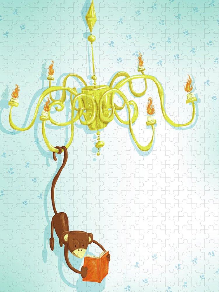 Hanging Puzzle featuring the digital art Reading Monkey by Gabrieletafuni-illustrator