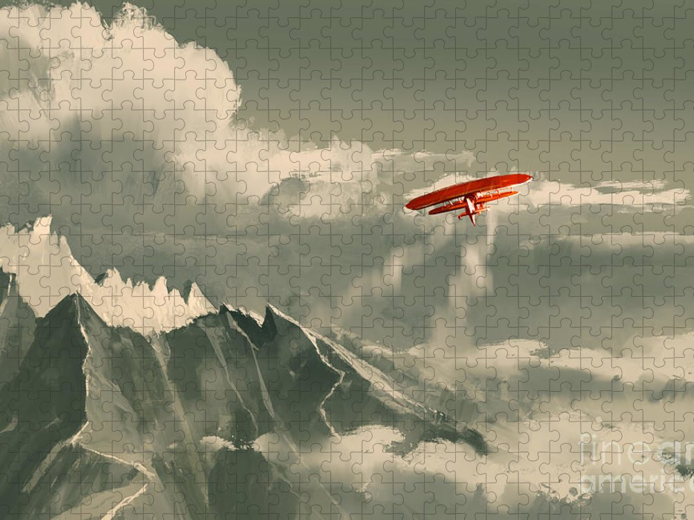 Plane Puzzle featuring the digital art Red Biplane Flying by Tithi Luadthong