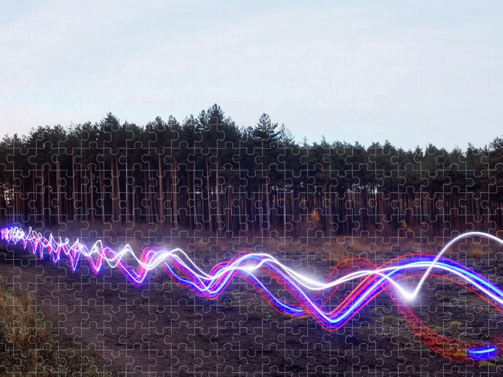 Internet Puzzle featuring the photograph Red, Blue And White Light Trails On by Tim Robberts