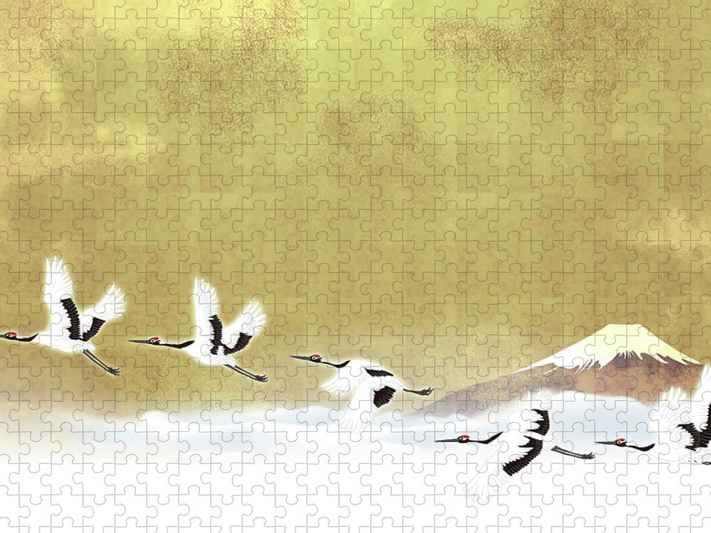 Chinese Culture Puzzle featuring the digital art Red-crowned Cranes In Flight Against by Imagewerks