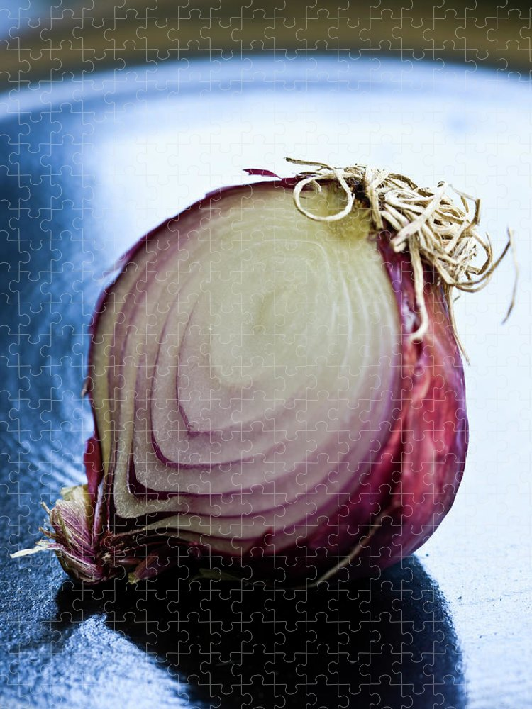 Shadow Puzzle featuring the photograph Red Onion Half by Ray Kachatorian