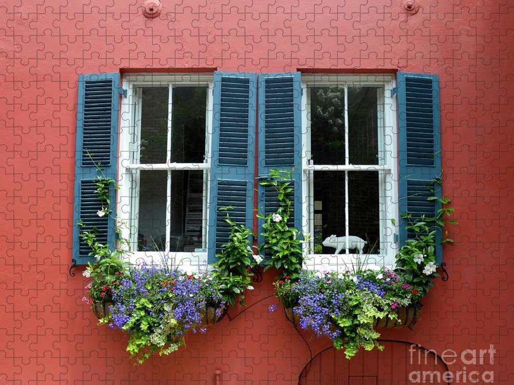 Shutter Puzzle featuring the photograph Red Wall With Windows, Charleston by Mark Swick