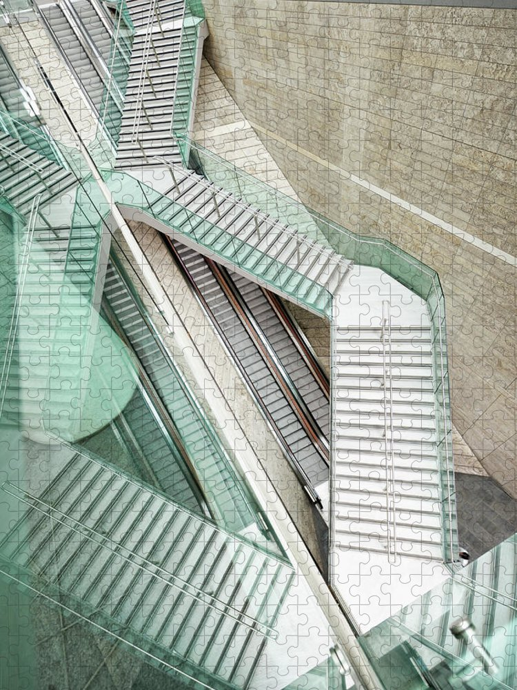 Long Puzzle featuring the photograph Reflected Modern Architecture - Winding by Georgeclerk