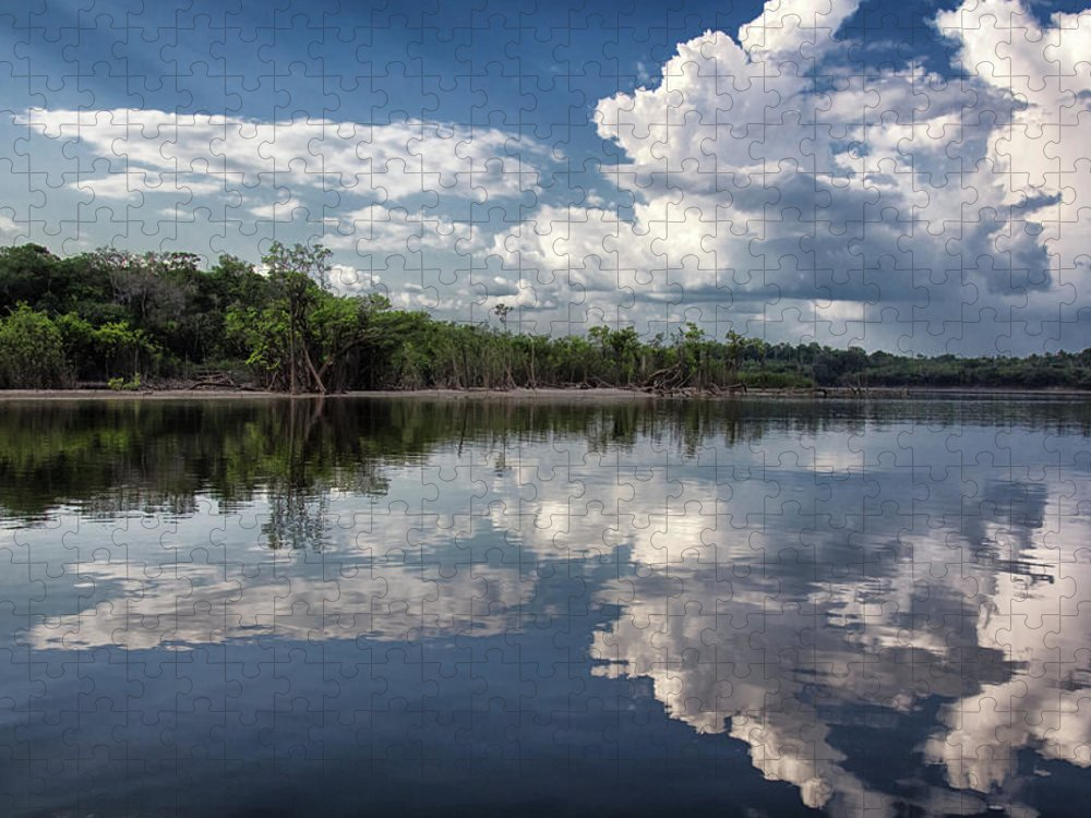 Scenics Puzzle featuring the photograph Reflections In Amazon River by By Kim Schandorff