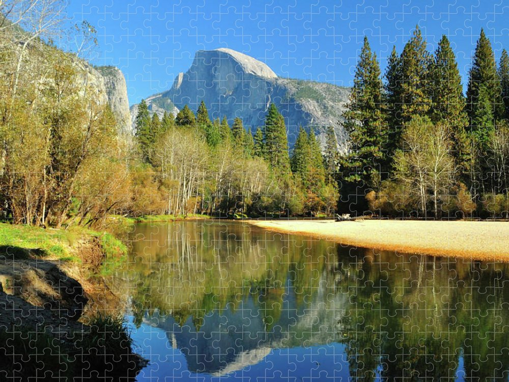 Scenics Puzzle featuring the photograph Reflections Of Half Dome by Sandy L. Kirkner