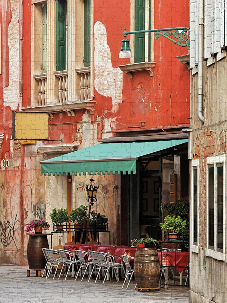 Empty Puzzle featuring the photograph Restaurant In Venice by Mammuth