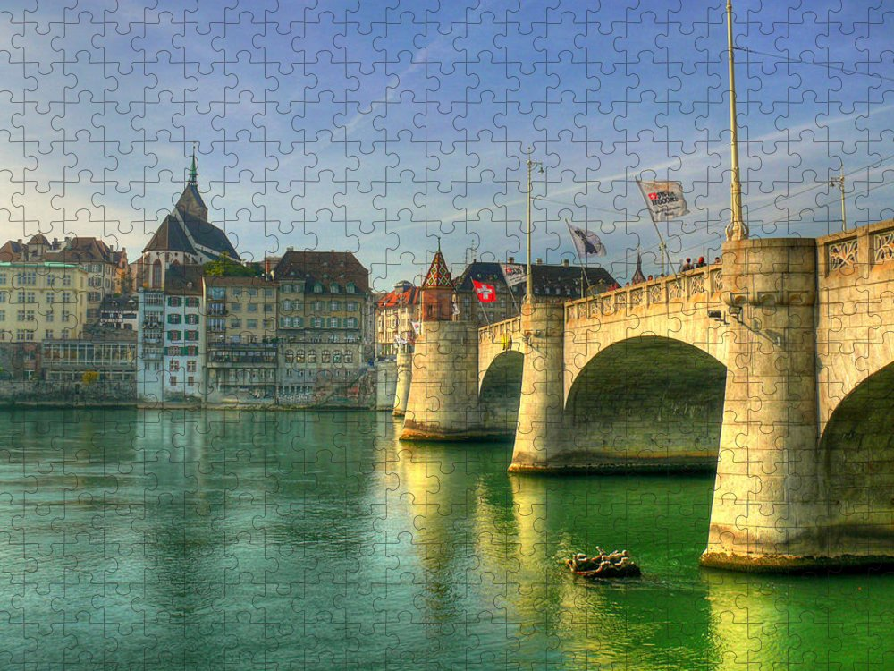 Outdoors Puzzle featuring the photograph Rhine Bridge In Basel by Richard Fairless