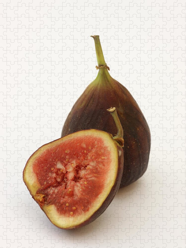 White Background Puzzle featuring the photograph Ripe, Fresh Figs On White Background by Rosemary Calvert
