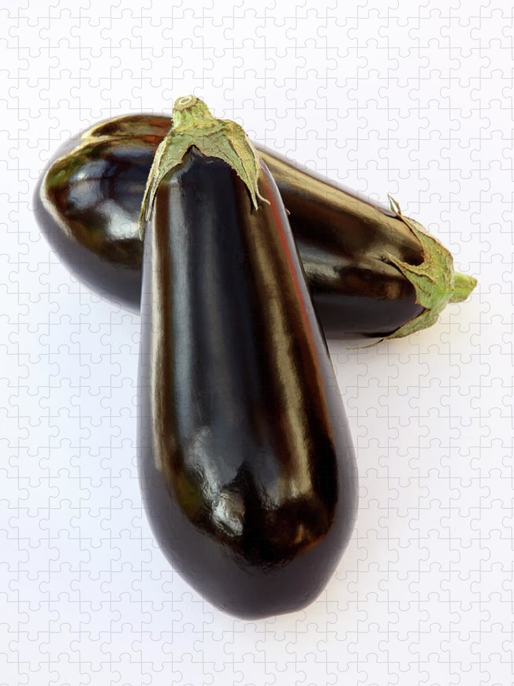 White Background Puzzle featuring the photograph Ripe, Organic Aubergines On White by Rosemary Calvert