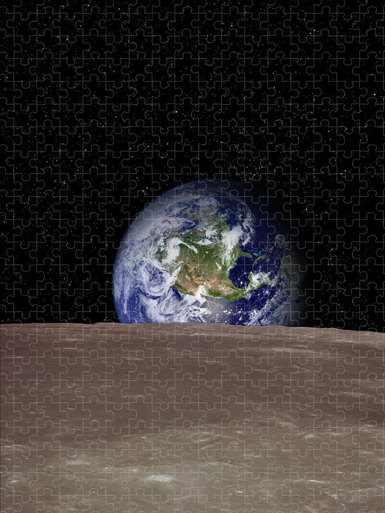 Landscape Puzzle featuring the photograph Rising Earth Over Moon Surface by Photovideostock