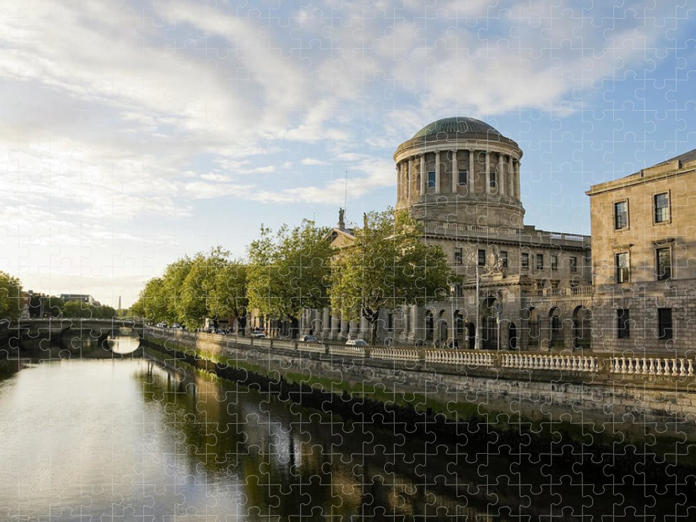 Dublin Puzzle featuring the photograph River Liffey And The Four Courts In by Lleerogers