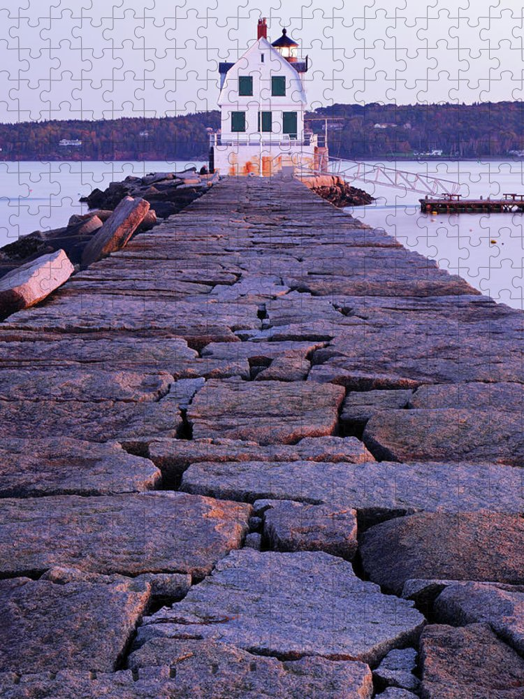Water's Edge Puzzle featuring the photograph Rockland Breakwater Lighthouse by S. Greg Panosian