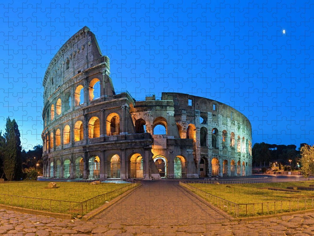 Arch Puzzle featuring the photograph Rome Coliseum Ancient Roman by Fotovoyager