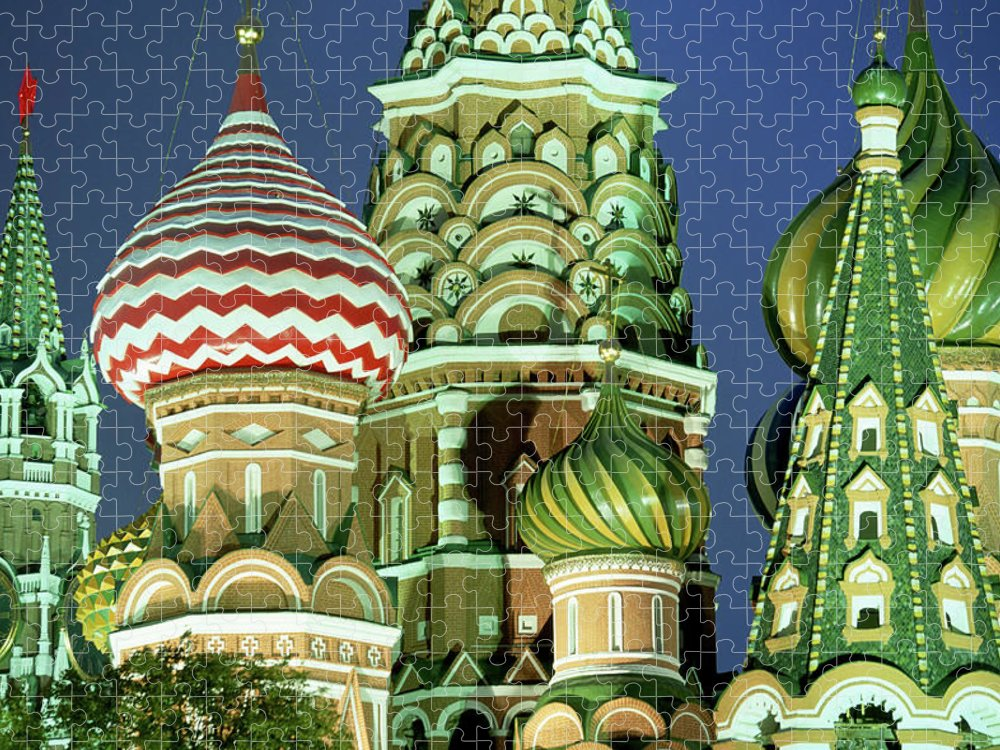 Travel14 Puzzle featuring the photograph Russia, Moscow, Red Square, St Basils by Peter Adams