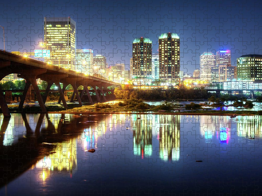 Tranquility Puzzle featuring the photograph Rva Summer Night - Richmond Va On The by Sky Noir Photography By Bill Dickinson