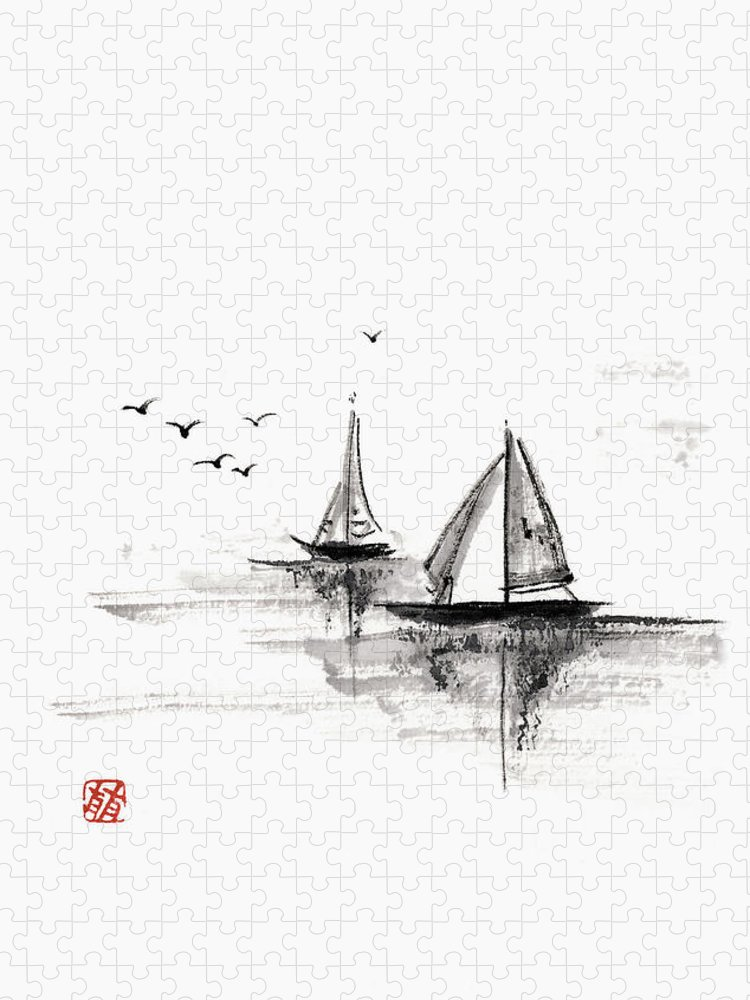Ink And Brush Puzzle featuring the digital art Sailboats On The Water by Daj