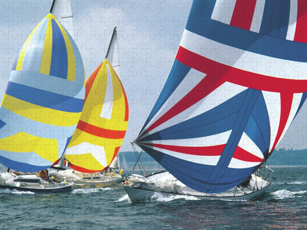 Wind Puzzle featuring the photograph Sailing Race by John Foxx