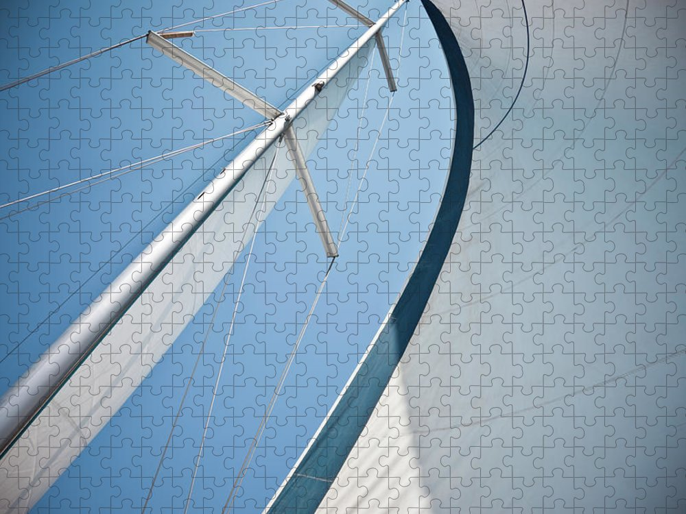 Wind Puzzle featuring the photograph Sails Against A Clear Blue Sky by Piccerella