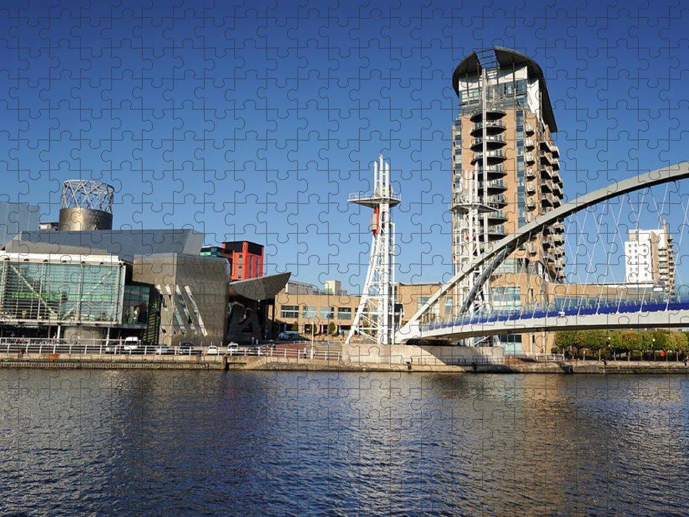 London Millennium Footbridge Puzzle featuring the photograph Salford Quays, Manchester by Chrishepburn