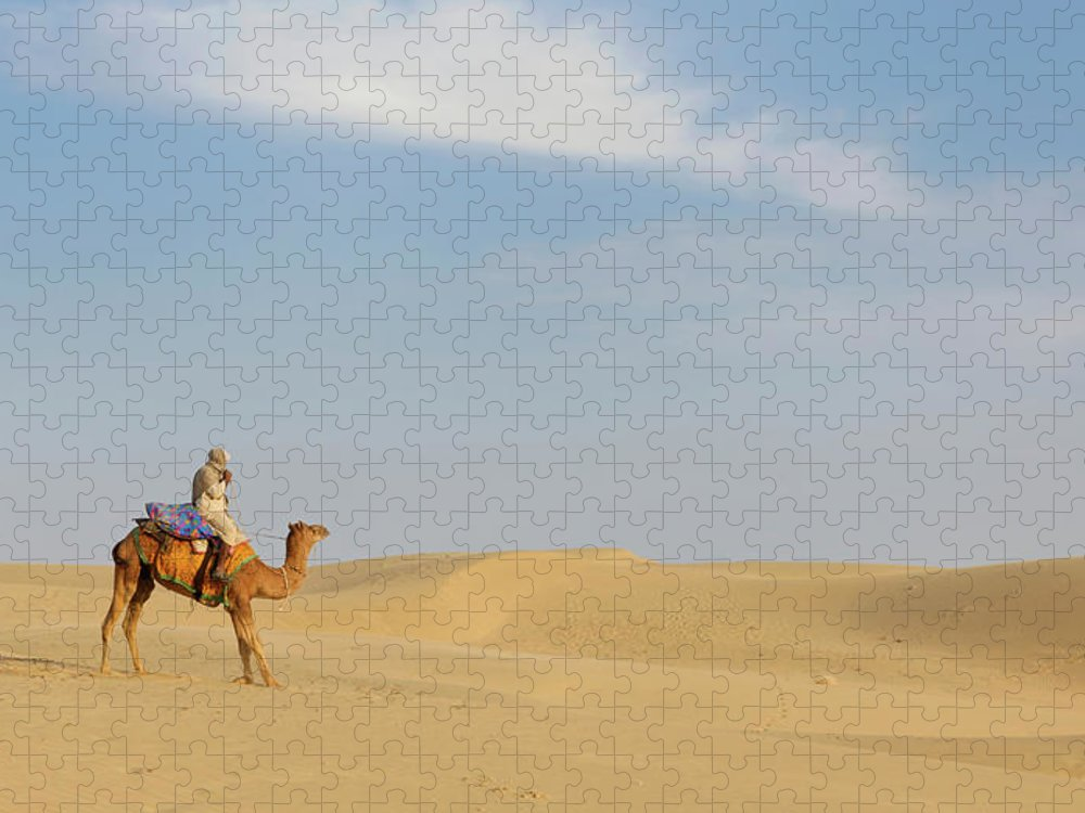 Tranquility Puzzle featuring the photograph Sam Sand Dunes Near Jaisalmer, Rajasthan by Cultura Rm Exclusive/karen Fox