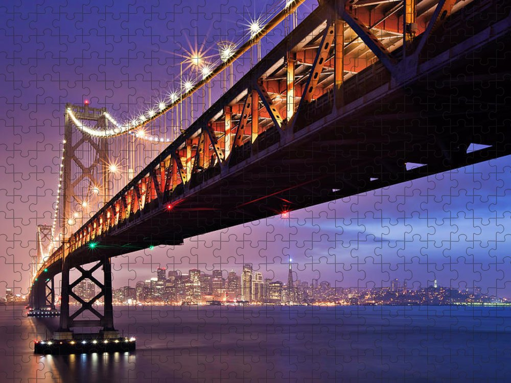 Tranquility Puzzle featuring the photograph San Francisco Bay Bridge by Photo By Mike Shaw