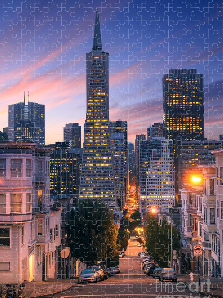 Francisco Puzzle featuring the photograph San Francisco Downtown At Sunrise - by Im photo