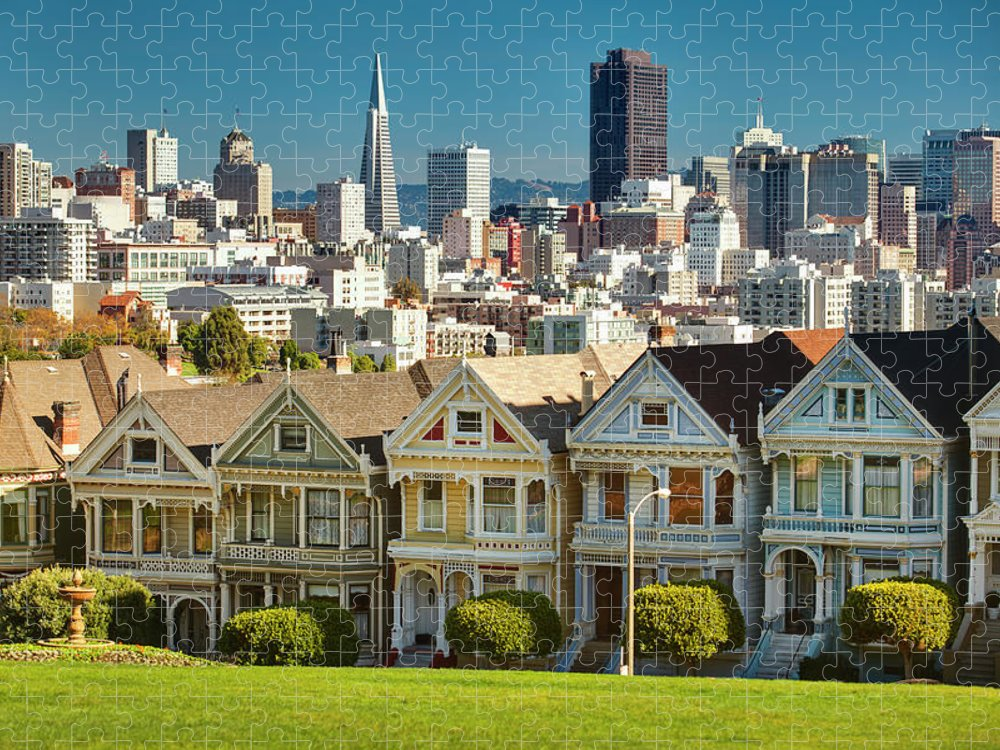 San Francisco Puzzle featuring the photograph San Francisco Postcard Row Skyline by Pgiam