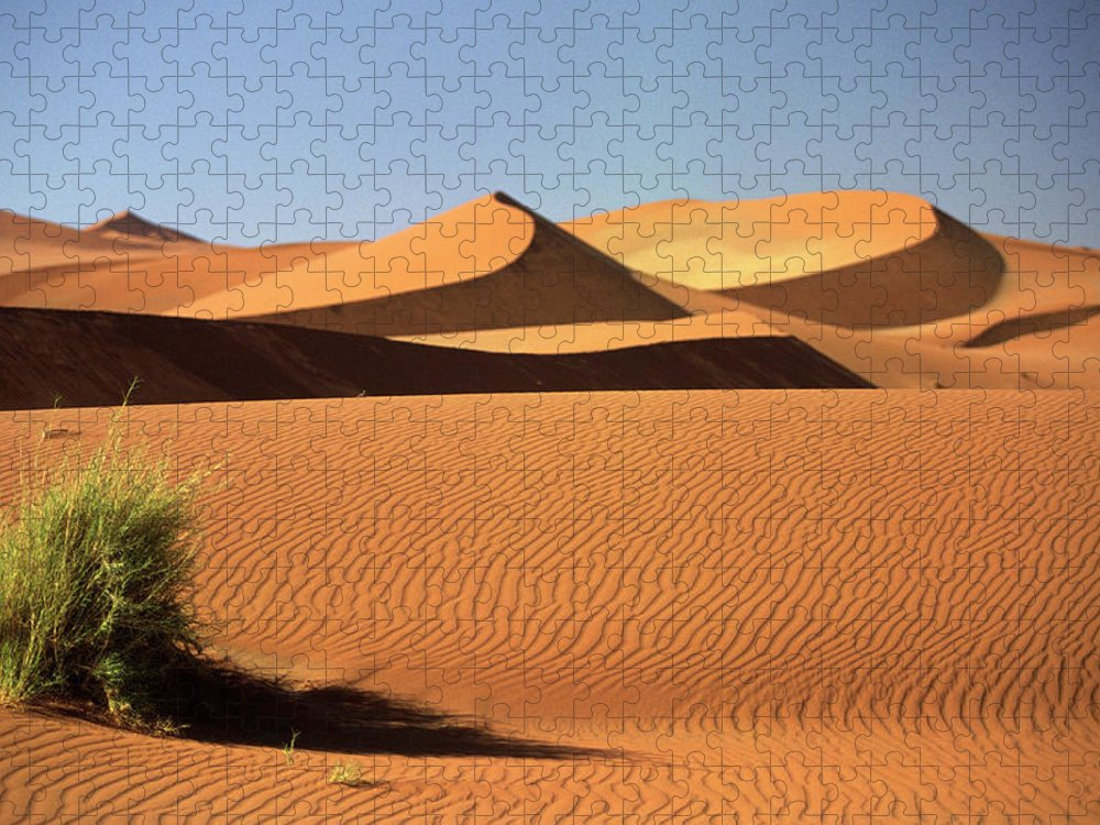 Shadow Puzzle featuring the photograph Sand Dunes In Namib Desert, Namibia by Walter Bibikow