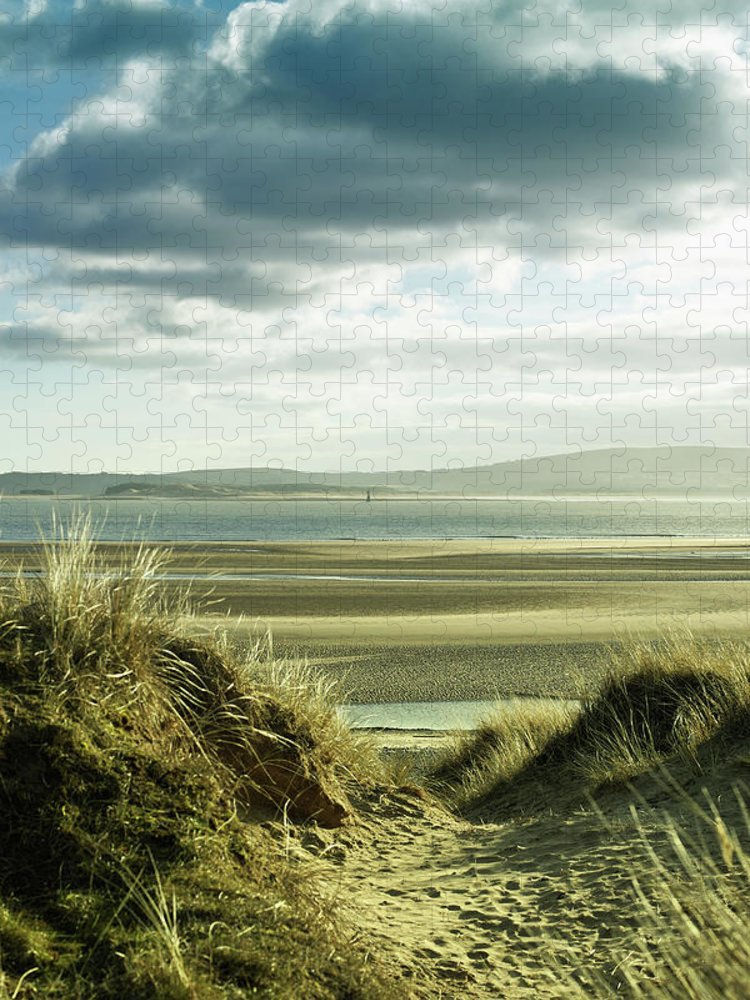 Sand Dune Puzzle featuring the photograph Sand Dunes With Empty Beach And by Tirc83