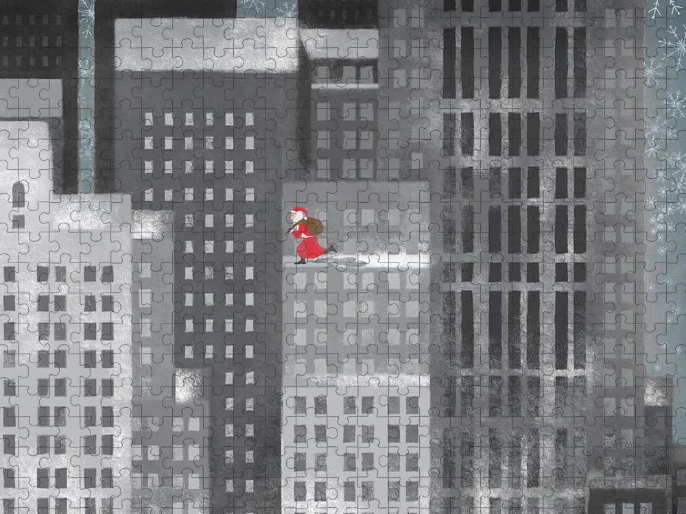 Shadow Puzzle featuring the digital art Santa Clause Running On A Skyscraper by Jutta Kuss
