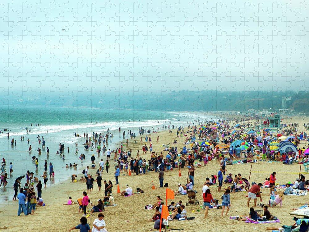 Water's Edge Puzzle featuring the photograph Santa Monica Beach by Daniel Shapiro