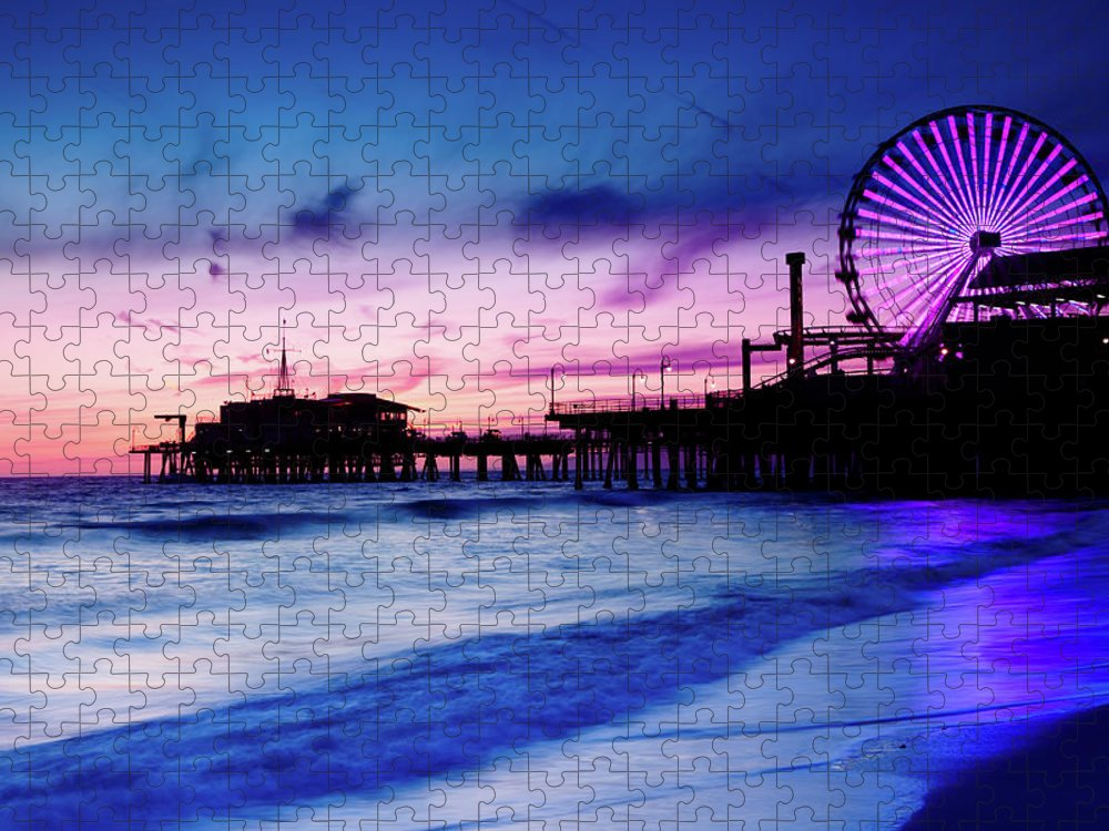 Commercial Dock Puzzle featuring the photograph Santa Monica Pier With Ferris Wheel by Pawel.gaul