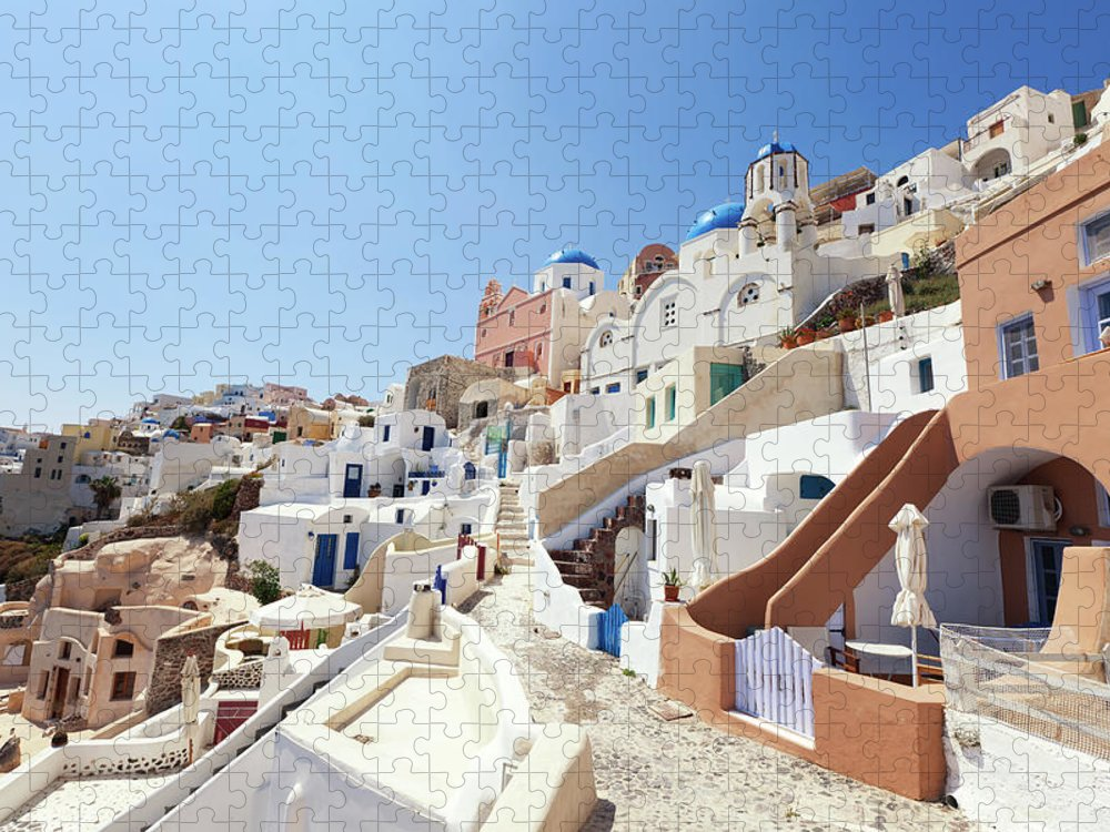 Steps Puzzle featuring the photograph Santorini, Churches And Houses by Richmatts