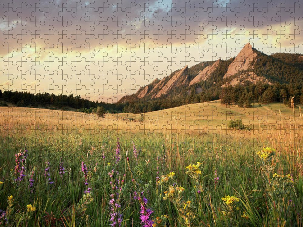 Tranquility Puzzle featuring the photograph Scenic View Of Meadow And Mountains by Seth K. Hughes