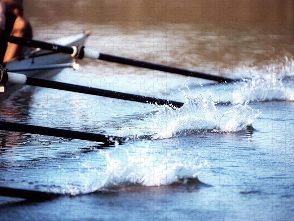 Sport Rowing Puzzle featuring the photograph Sculling Team Rowing On Water by Robert Llewellyn
