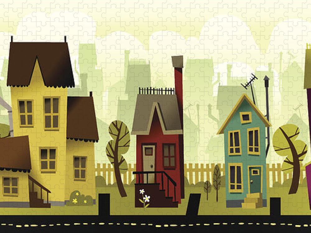 Grass Puzzle featuring the digital art Seamless Neighborhood by Doodlemachine